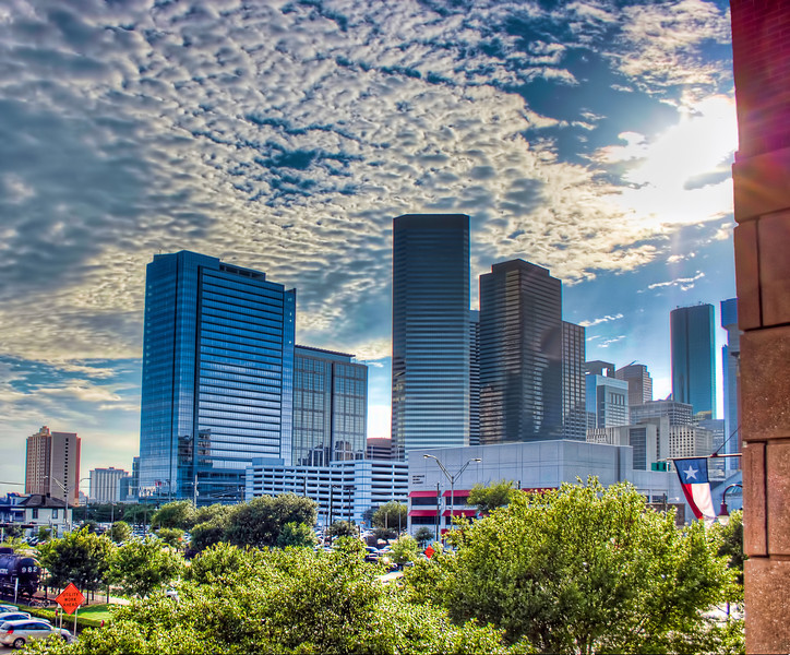 Downtown Houston's East Side<br /> Looking from one of Minute Maid Park's large windows, I saw how pretty the sky was this hot summer afternoon.