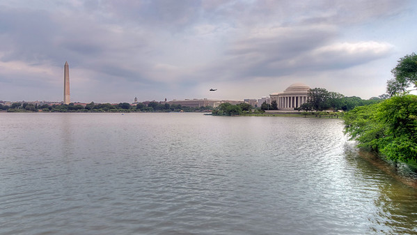 The Potomac<br /> When you visit Washington D.C., you can catch a glimpse of the Potomac from a few memorials, such as the Washington and Jefferson Memorials in this photo.