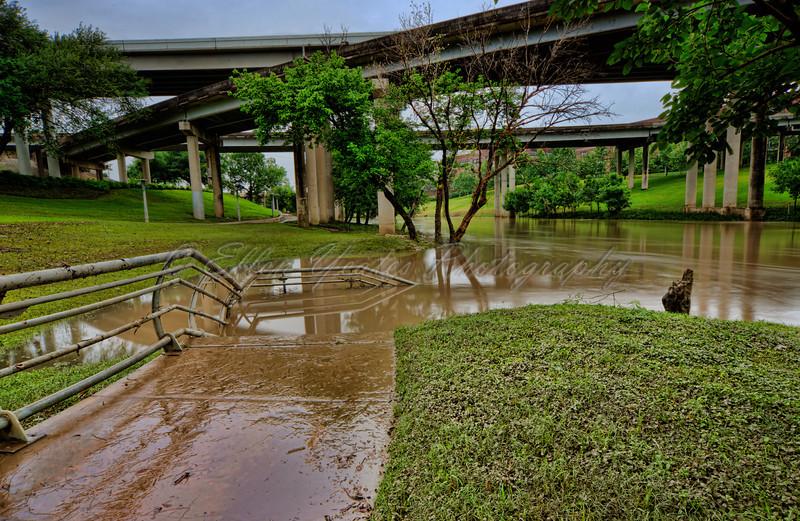 Buffalo Bayou Flooded - Houston Downtown