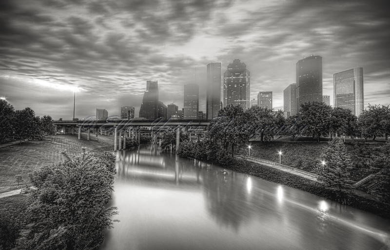 B&W Houston Skyline in Morning Fog