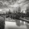 B&W Houston Skyline in Morning Fog