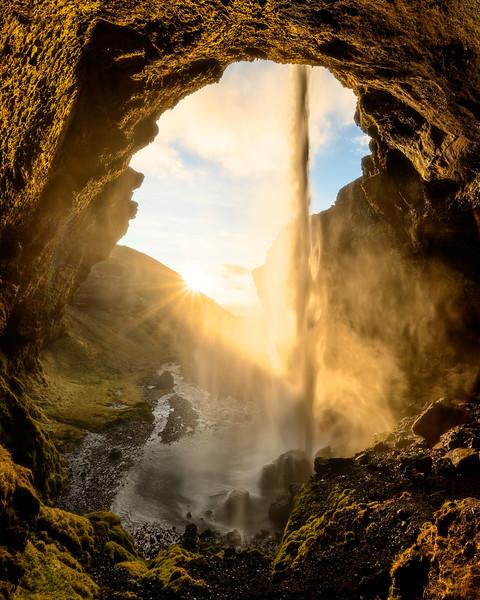 Kvernufoss face waterfall iceland golden light long exposure landscape photography.jpg