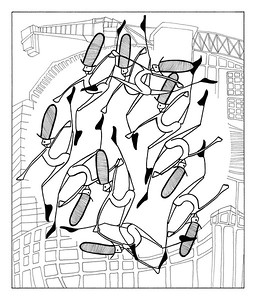 10 Lords A-Leaping / ink on paper (unframed) / 92cm x 78.5cm @ 72dpi / original SOLD / image 0010