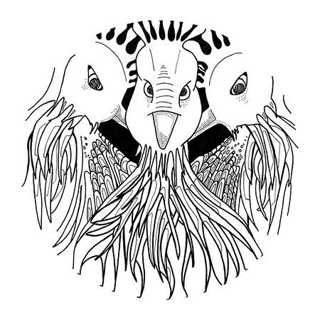 3 French Hens / ink on paper (unframed) / 57.5cm x 57.5cm @ 72dpi / original SOLD / image 0003