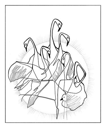 7 Swans A Swimming / ink on paper (unframed) / 88cm x 73.3cm @ 72dpi / original SOLD / image 0007