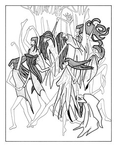 9 Ladies Dancing / ink on paper (unframed) / 97cm x 77cm @ 72dpi / original SOLD / image 0009