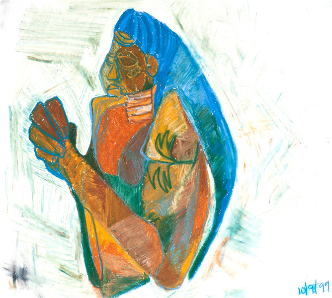 African Lady / oil bars on paper (mounted - not framed) / 52cm x 58cm / original £90 / image 2973