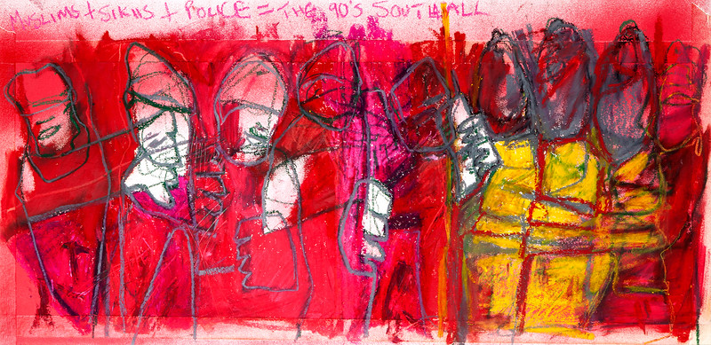 Muslims & Sikhs / mixed media on paper (mounted - not framed) / 38cm x 79cm / original £250 / image 2957