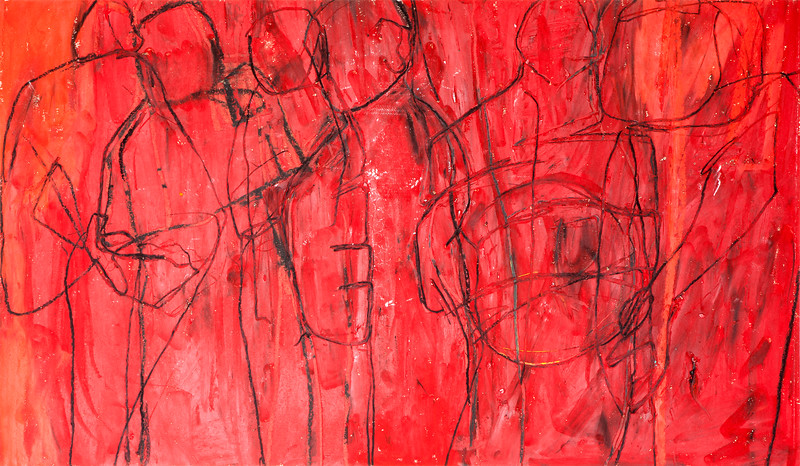 Red / mixed media on paper (mounted - not framed) / 46cm x 76.5cm / original £250 / image 2949