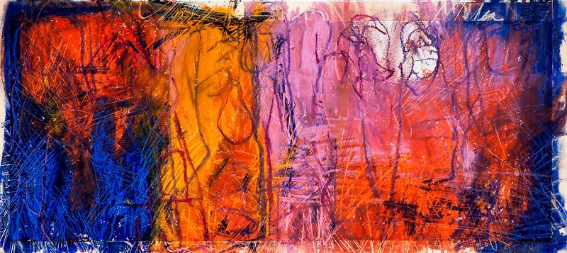 Untitled / oil bars & pastels on paper (mounted - not framed) / 32.5cm x 73cm / original £95 / image 2981