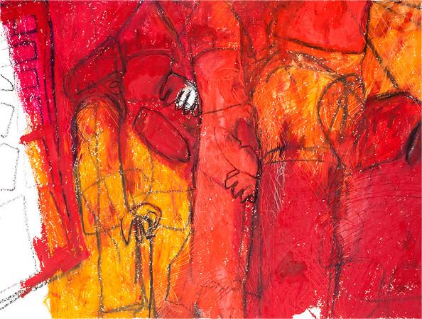 Vaisakhi / mixed media on paper (mounted - not framed) / 52.5cm x 68.5cm / original £250 / image 2969