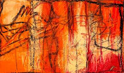 Orange Delight / oil bars & pastels on paper (mounted - not framed) / 44.5cm x 74.5cm / original £120 / image 2989