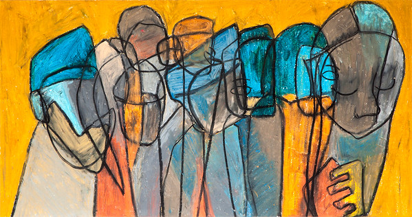 Congregation / mixed media on paper (mounted - not framed) / 42.5cm x 80cm / original £230 / image 2941