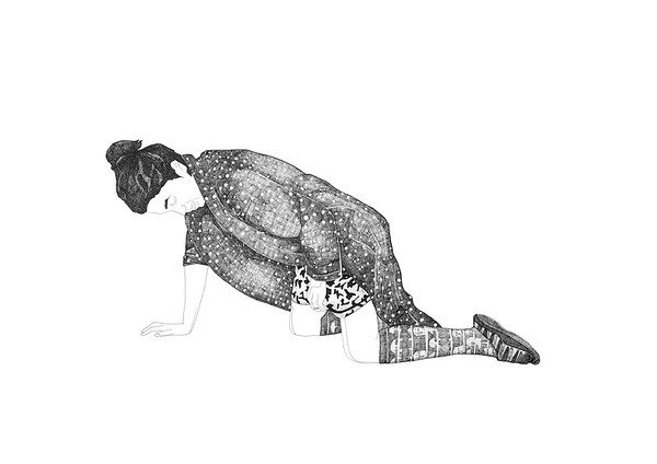 Artist At Work (Crawling) / ink on paper (unframed) / 59.4cm x 84.1cm / original £550 / image 6058 / WINNER of the Best Print or Drawing category in the 57th Essex Open Exhibition 2016