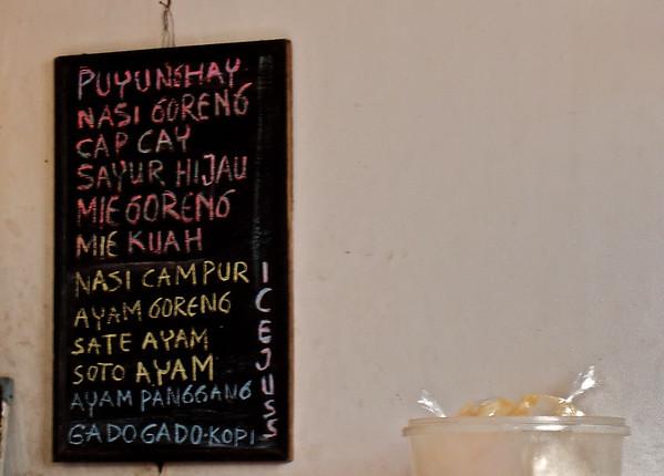 Balinese menu