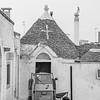 A three wheeled Piaggio Ape 50 in the streets of Alberobello