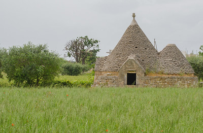 A typical trullo house in the countryside of Puglia