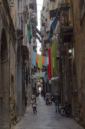 A narrow street in Napoli's centro Storico
