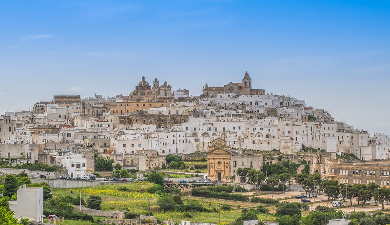 Panoramic view of Ostuni's old town, Apulia