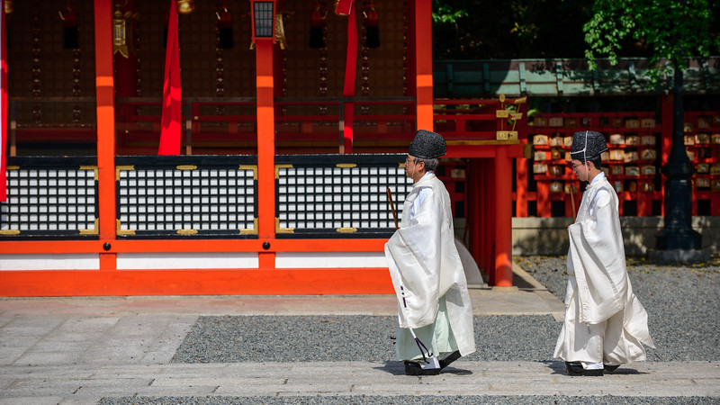 Monks at Kyoto's Inari shrine