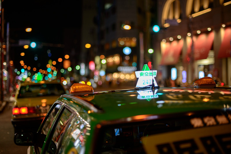 Tokyo taxi bokehed