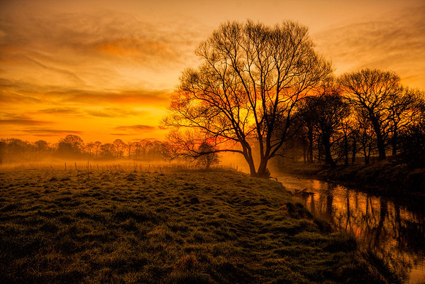 Early morning mist over the River Darwen flowing through Witton Park, Blackburn, Lancashire.