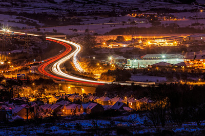 The M65 winding through Blackburn & Darwen.