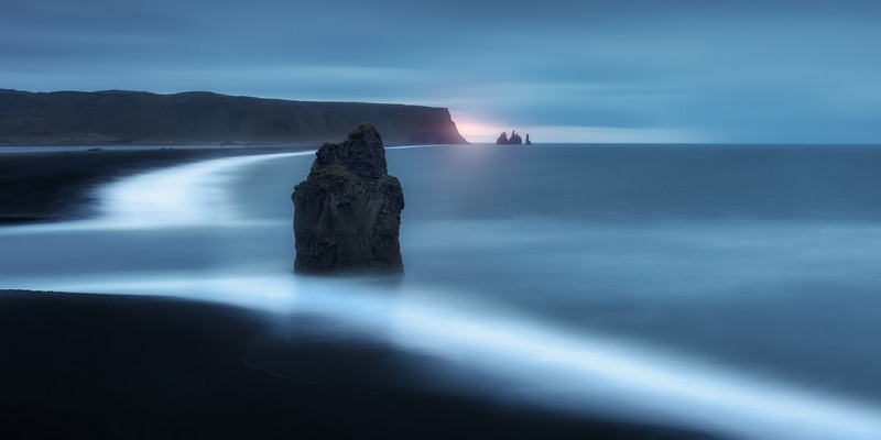 Dyrholaey iceland morning blue hour golden red long exposure fine art landscape.jpg