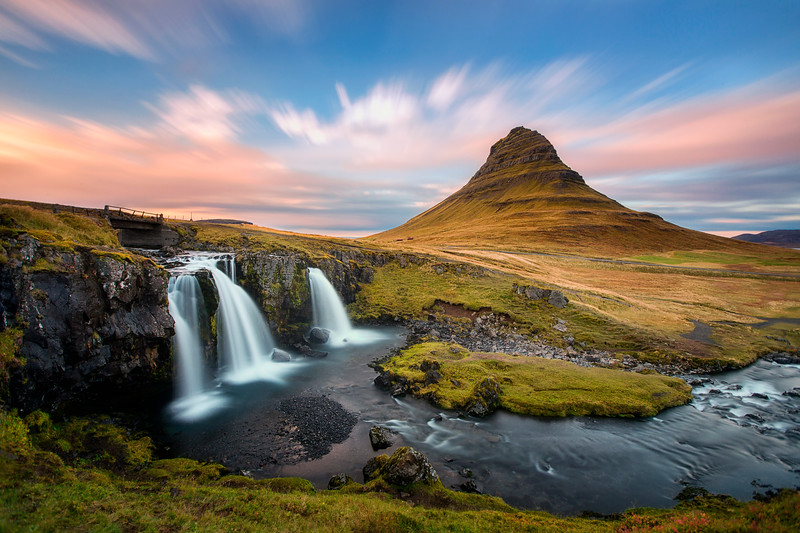 Kirkjufell sunset blue sky long exposure waterfall iceland mountain.jpg
