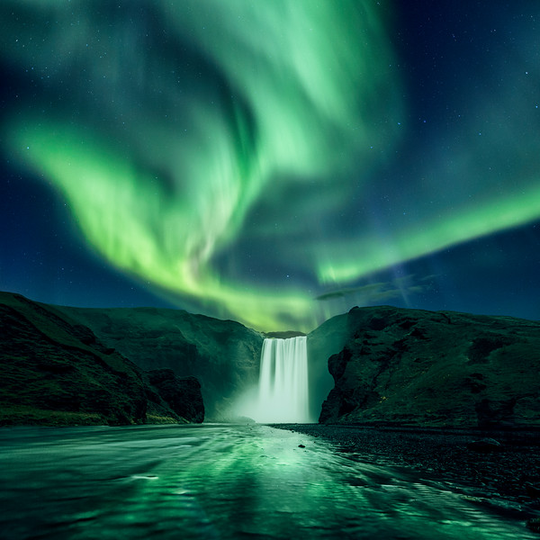 Skogafoss northern lights aurora borealis beautiful river iceland travel tourism.jpg