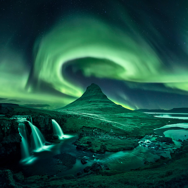kirkjufell aurora borealis northern lights iceland waterfall night composite.jpg
