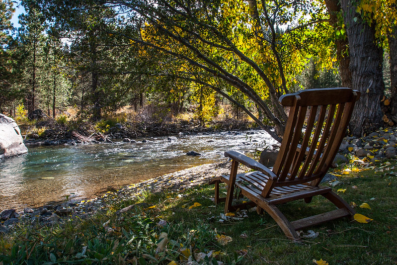 Truckee River during Fall. Bench near the river.