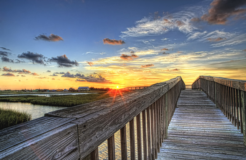 Walk to Sun....   ~ Crabbing Pier Sunset