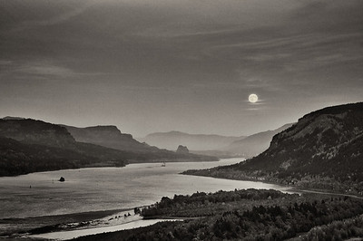 Moonrise over the Columbia