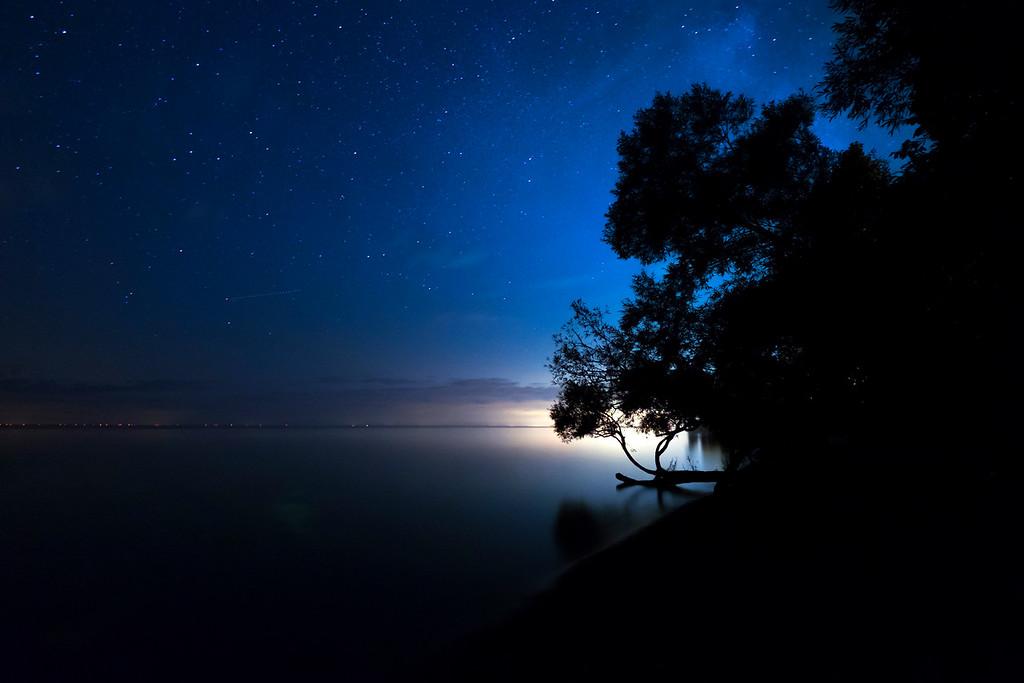 night sky over lake huron