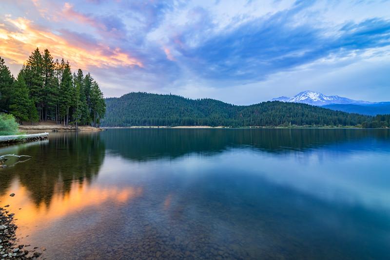 Summer Sunset over Lake Siskiyou and Mount Shasta