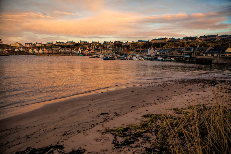 Findochty Harbour, Moray, Scotland at sunset.