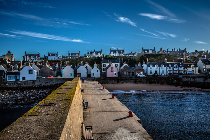 Houses at Findochty Harbour, Moray, Scotland.