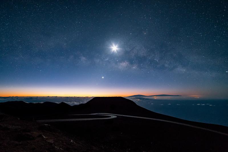 Haleakala with Galactic Core and 18% moon