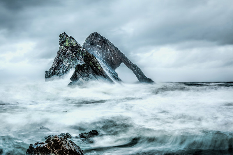 Bow Fiddle Rock, Portknockie, Moray, in a wild storm.