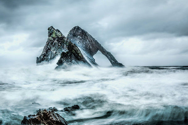 Bow Fiddle Rock, Portknockie, Moray, in a wild storm.