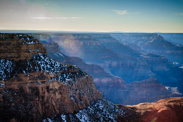 Sunflare over snow in Grand Canyon