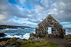 Derelict building on the cliff edge at Portsoy, Aberdeenshire, Scotland.