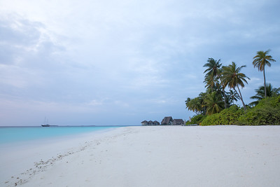 White sand beach at sunrise.