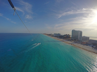 Parasailing along the coast of Cancun