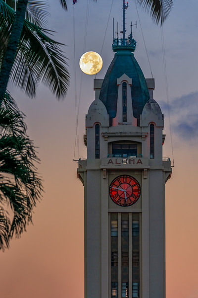 Moon Over Aloha Tower