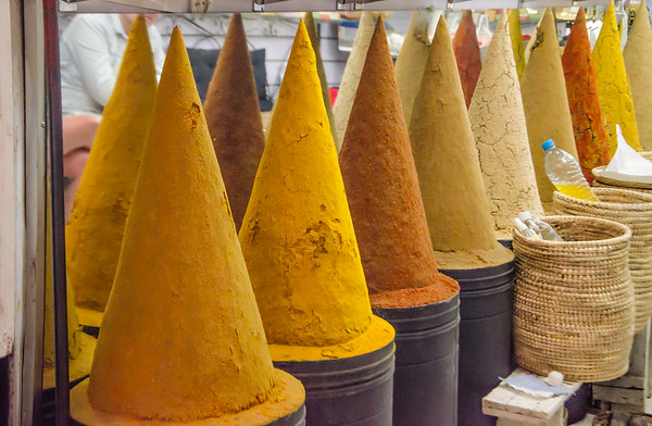 Cones of spices for sale in the medina of Marrakesh