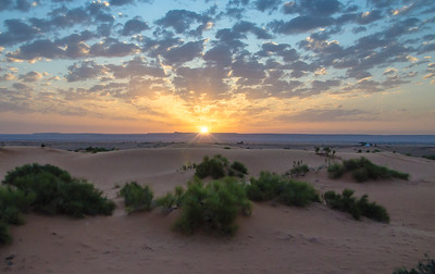 Sunrise in the desert, Merzouga