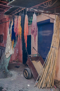 Wool, dyed and drying in the medina of Fes