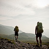Two backpackers hiking